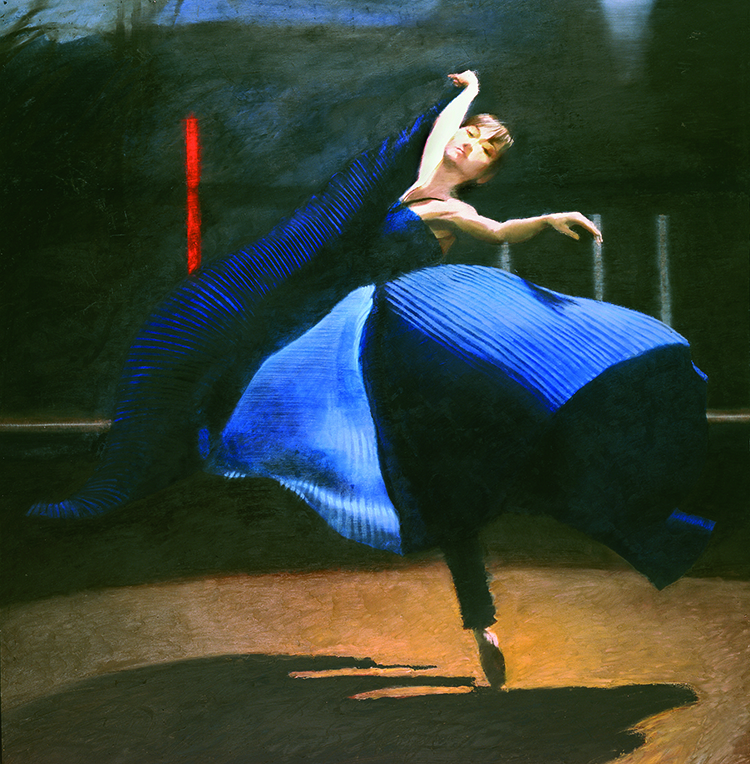 Dancer blue dress and black borders
