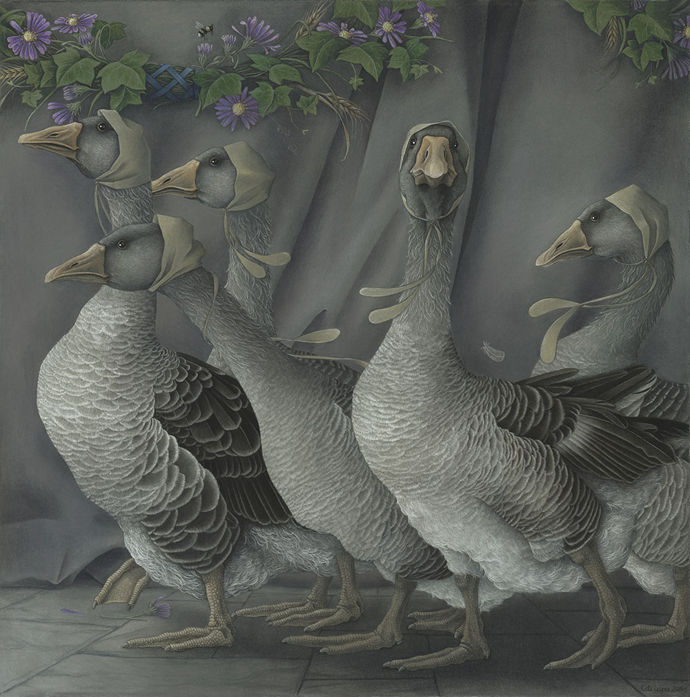 Geese with coifs of rabbit skin