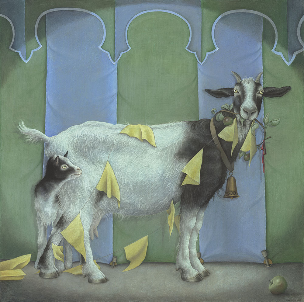 Original Painting of a Goat and kid