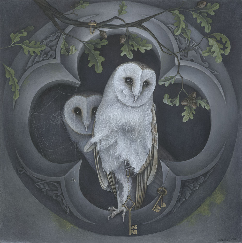Kate Leiper painting of a Barn Owl