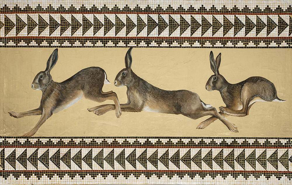 Bridget Syms original painting of Hares