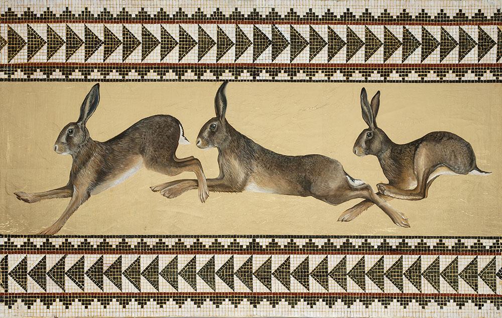 Bridget Syms original painting of Hares