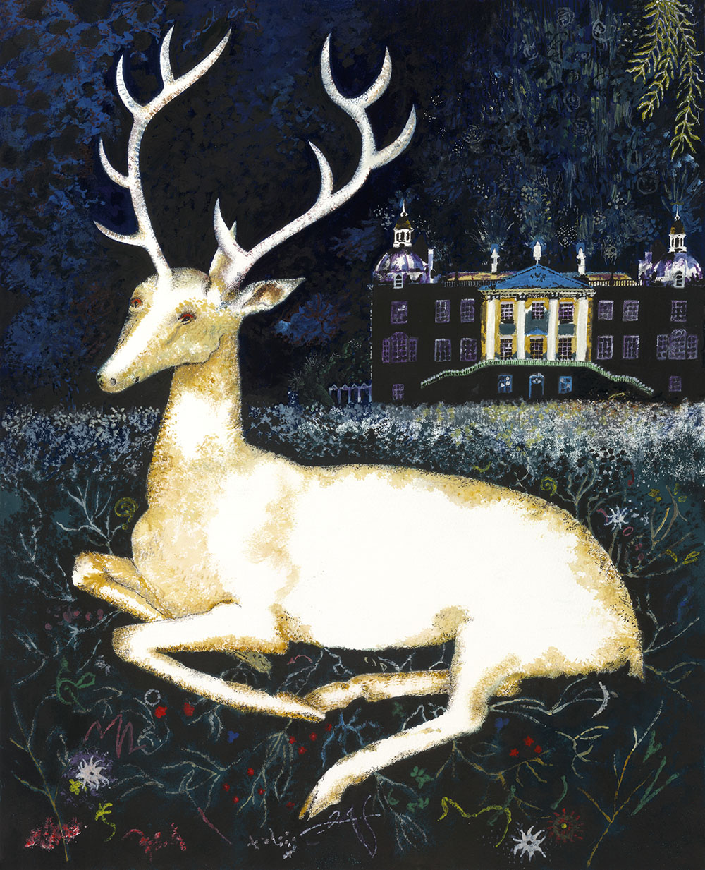 Barrie Morris painting of a White Hart at Houghton