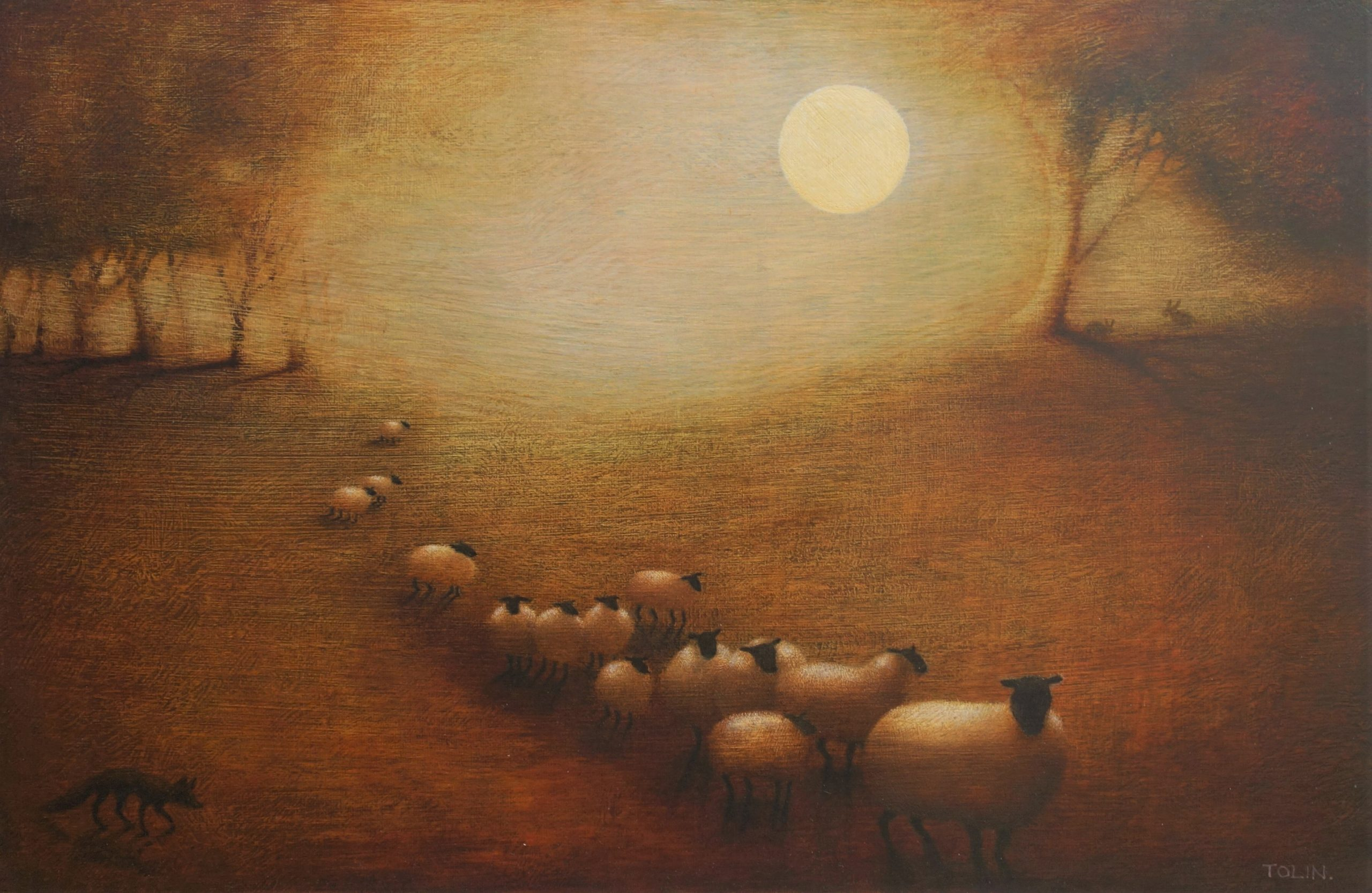 A flock of sheep by moonlight